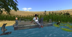 Raza Lane Relaxing in Noweeta Grassland Second Life SIM